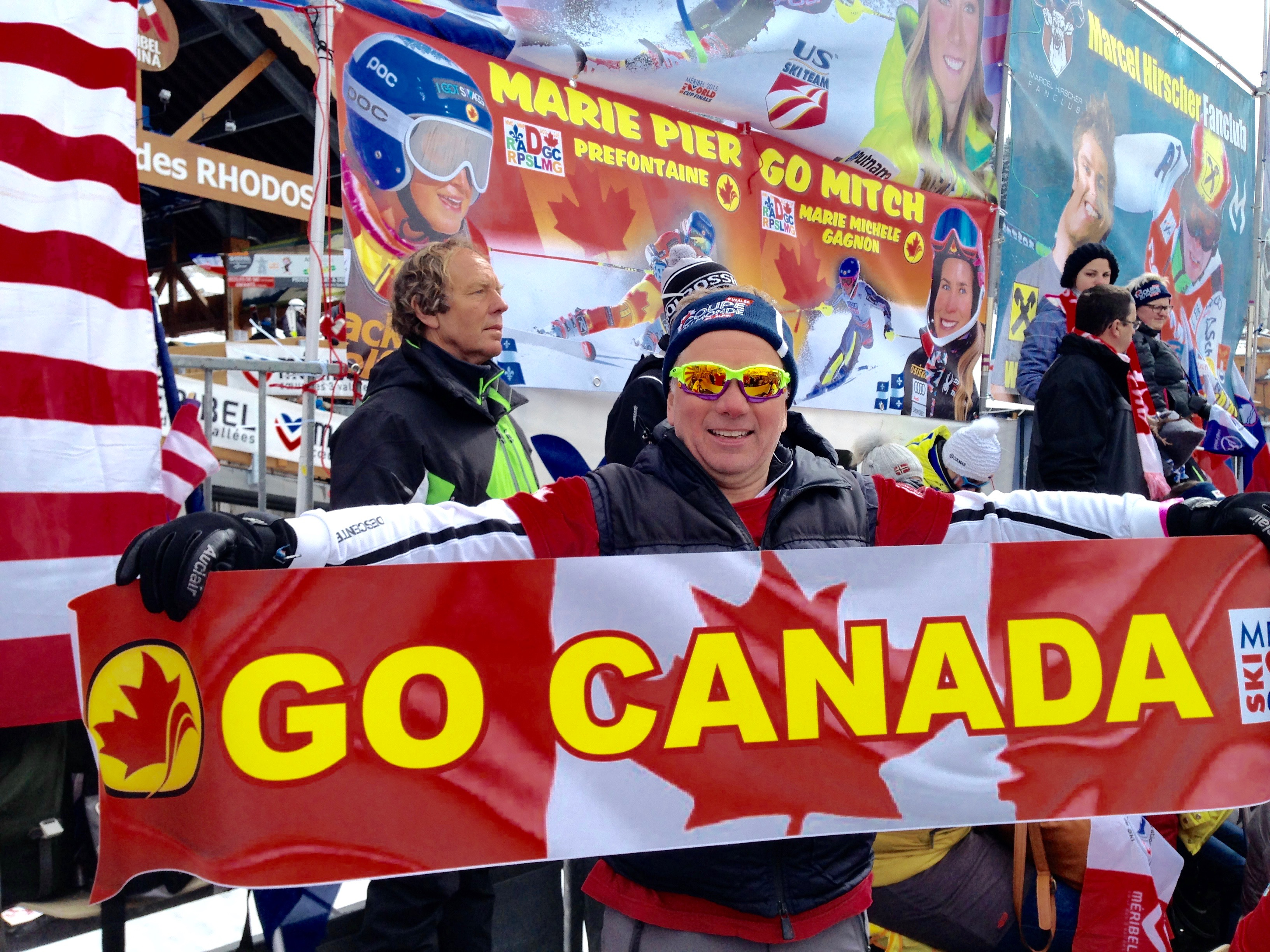 At Méribel ski World Cup Finals 2015 with Canada Alpine fans .. Top Fun