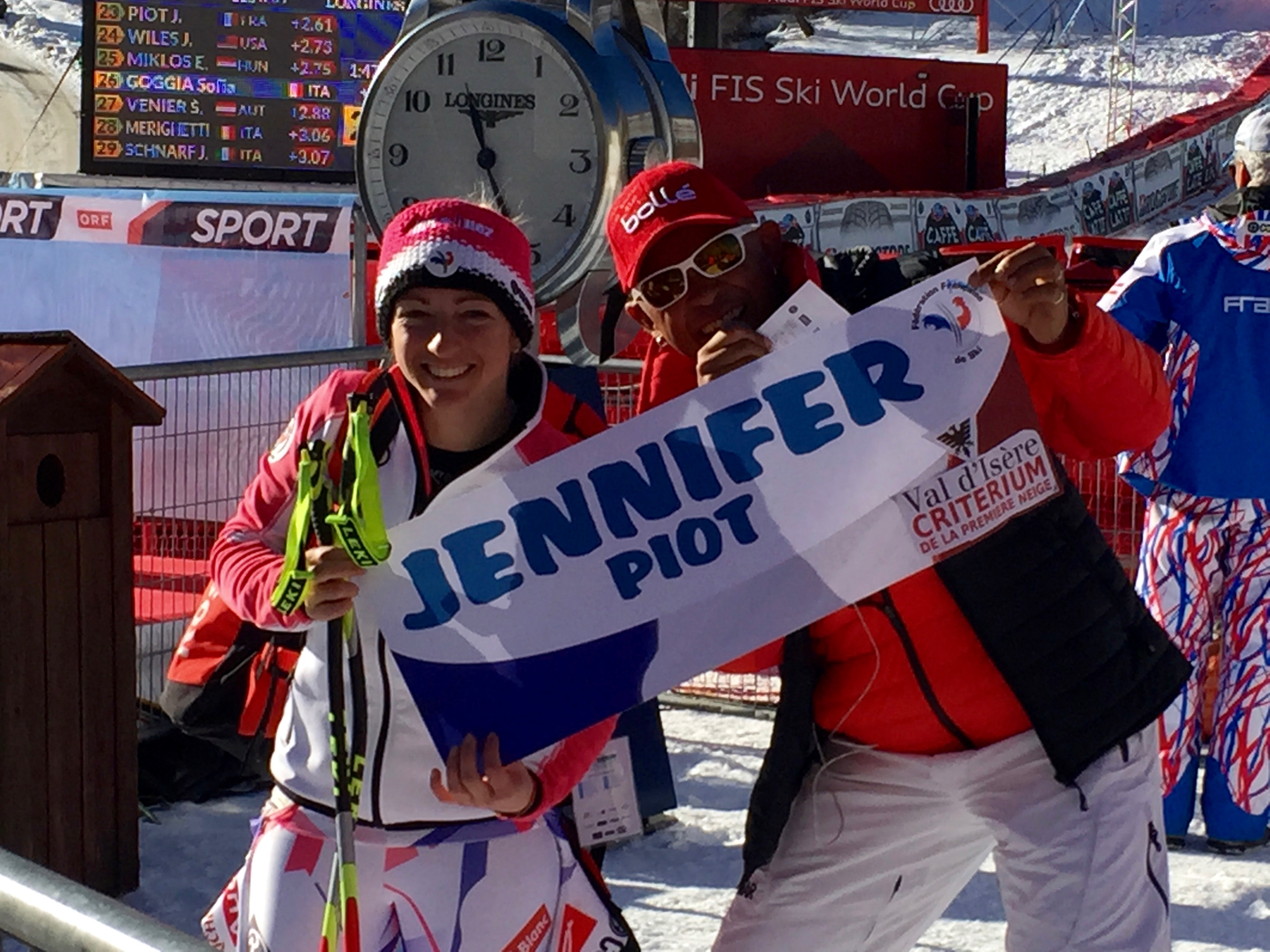 Jennifer Piot with Christopher Hardy at Val d'Isère World Cup 2015