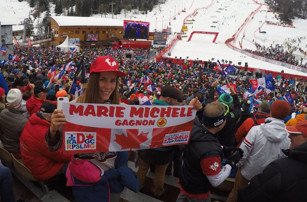 At Méribel ski World Cup Finals 2015 with Marie Michèle Gagnon & Mitch