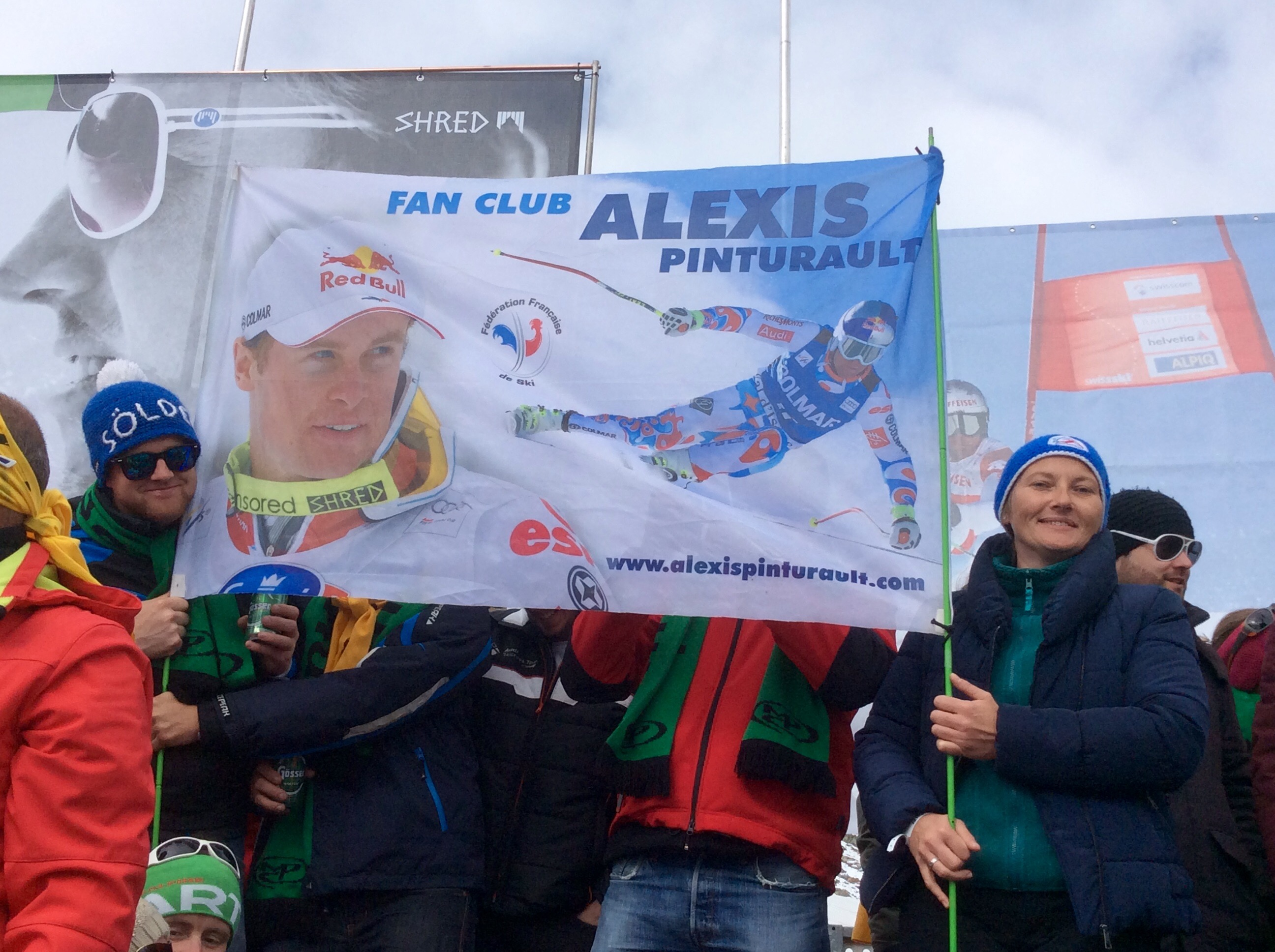 Alexis Pinturault  Fan Club flag. Solden 2016