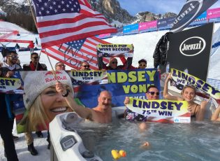 LV fans, Cortina Classic & Jacuzzi celebrating Lindsey's 75th win