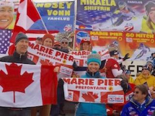 At Méribel ski World Cup Finals 2015 with Canada Alpine fanscheering Marie Pier Préfontaine