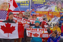 At Méribel ski World Cup Finals 2015 with Canada Alpine fanscheering Marie Pier Préfontaine