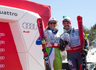 © WorldCupAspen DH Crystal Globes Aspen Ski World cup Finals march 15 2017 Ilka STUHEC & Peter FILL