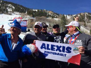 Alexis Pinturaults Fans  banners, Aspen Ski World Cup, Club des sports de Courchevel