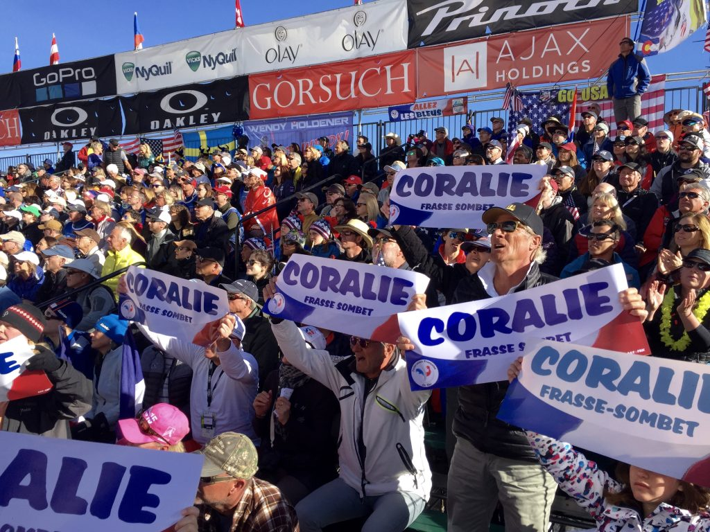 Coralie Frasse Sombet fans Aspen Ski World Cup Finals 2017   at