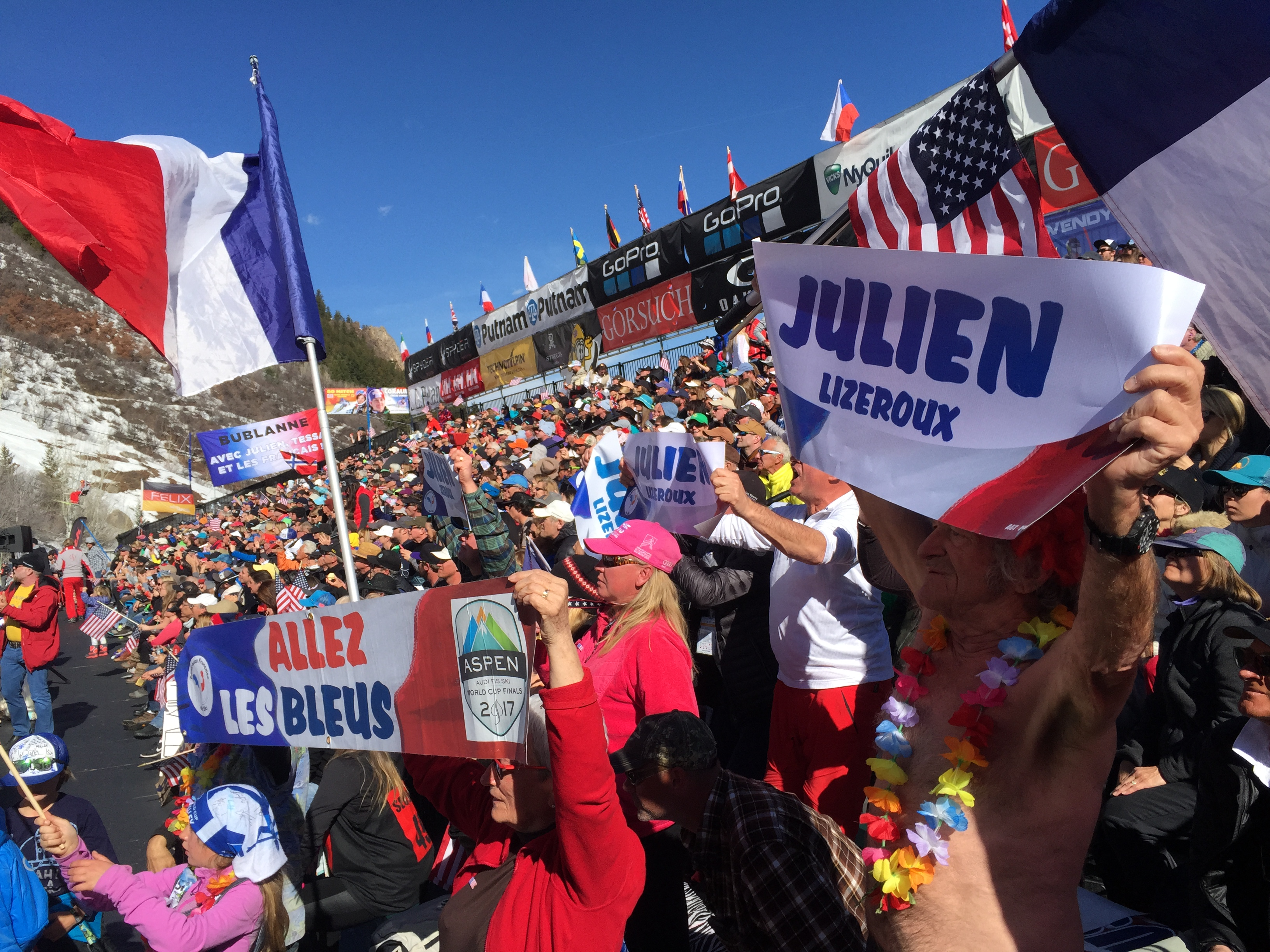 Julien Lizeroux fans at Aspen Ski World Cup Finals 2017