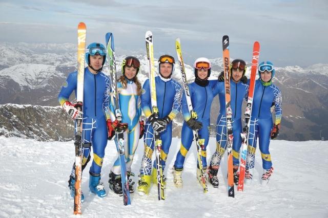 Ukraine Alpine Ski Team at Vail Beaver-Creek 2015 .Ukraine's Alpine skiers (from left) Dmytro Mytsak, Olha Knysh, Rostyslav Feshchuk, Tetyana Tikun, Ivan Kovbasnyuk and Bogdana Matsotska.