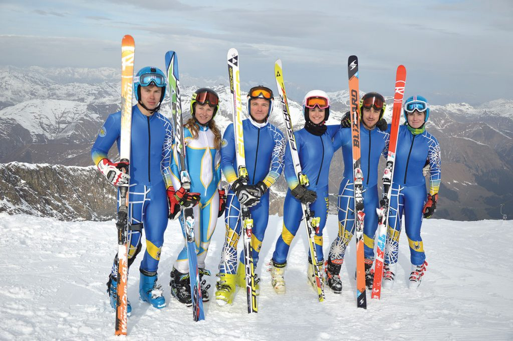 Ukraine Alpine Ski Team at Vail Beaver-Creek 2015 .Ukraine's Alpine skiers (from left) Dmytro Mytsak, Olha Knysh, Rostyslav Feshchuk, Tetyana Tikun, Ivan Kovbasnyuk and Bogdana Matsotska.