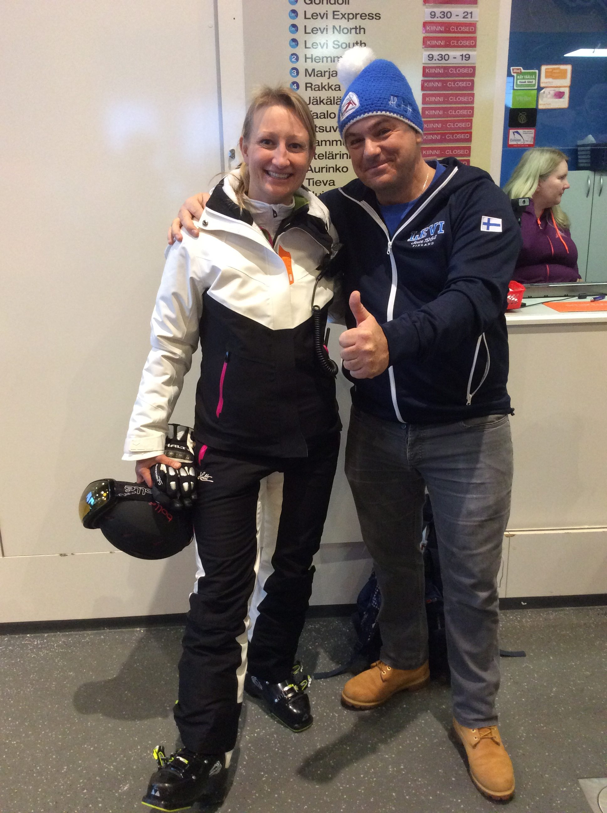 Local retired World Cup racer Tanja with one the Alpine Ski World Cup Fan Community at LEVI World Cup 2016