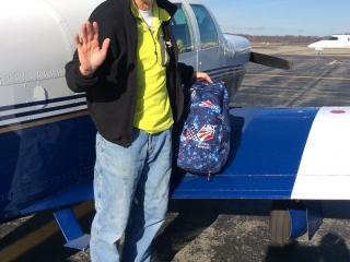 American dream ... Plane, Ski races and U.S Ski team backpack .