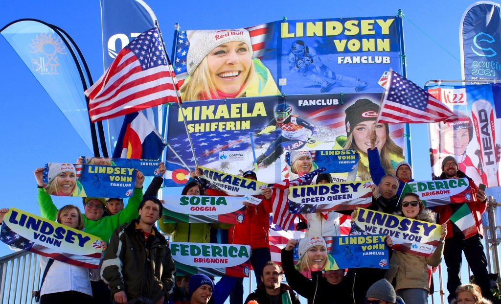Mikaela SHIFFRIN, Lindsey VONN and italian fans at Cortina Classic 2017