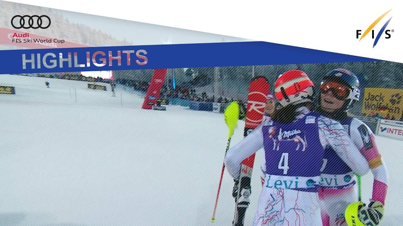 he 21-year-old from US notched up a ninth straight World Cup slalom win after dominating the event in the Finnish resort. Holdener and Vlhova rounded out the podium.