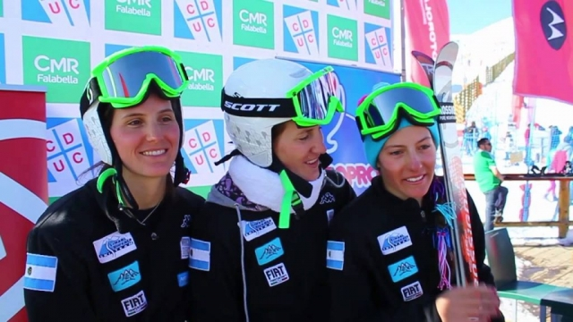 Belen, Macarena, and Angelica Simari Birkner talk skiing after a South American Cup Giant Slalom in El Colorado Chile.