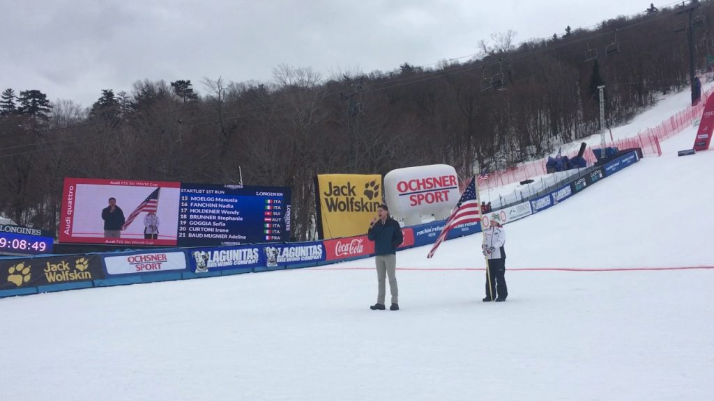 Michael Hornig singing the National Anthem at the Audi FIS Ski World Cup at Killington on 11/26/16.
