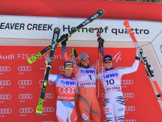 Downhill podium  Aksel Lund SVINDAL, Beat FEUZ and Thomas DRESSEN
