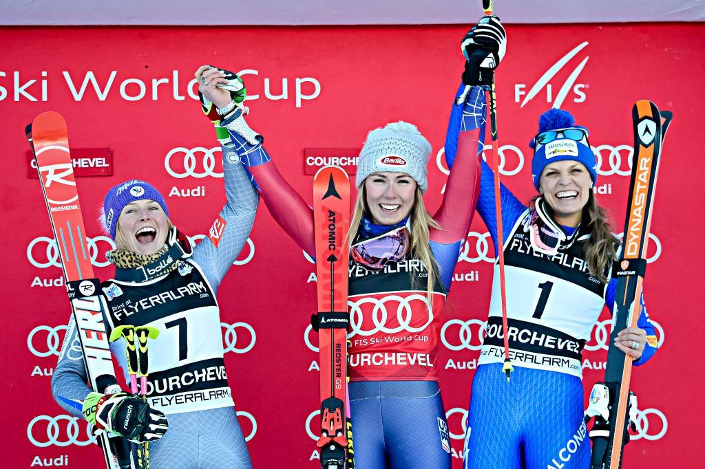 Giant Slalom Podium:  Mikaela SHIFFRIN, Tessa WORLEY & Manuela MOELGG /Courchevel World Cup  2017  ©Agence Zoom