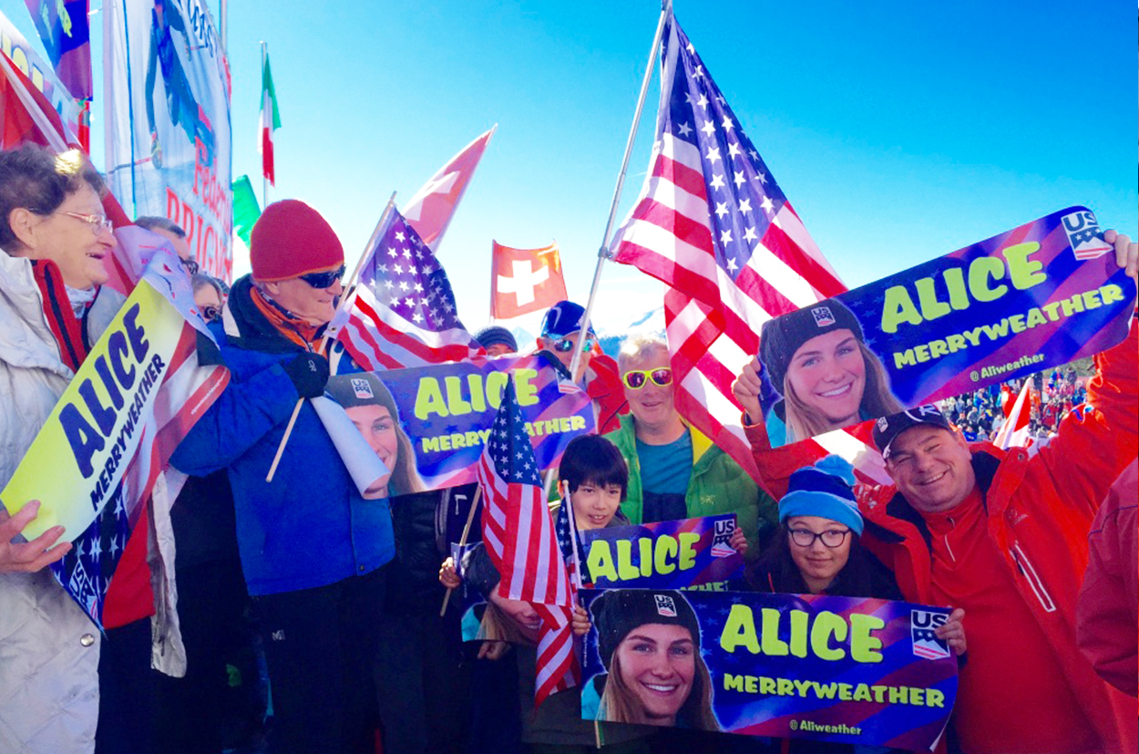 Alice Merryweather fans at Crans Montana 2019