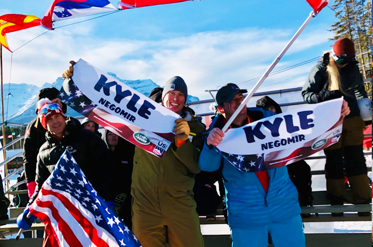 Sam Morse and and Fan Community member, cheering Kyle Negomir at Lake Louise World Cup 2019