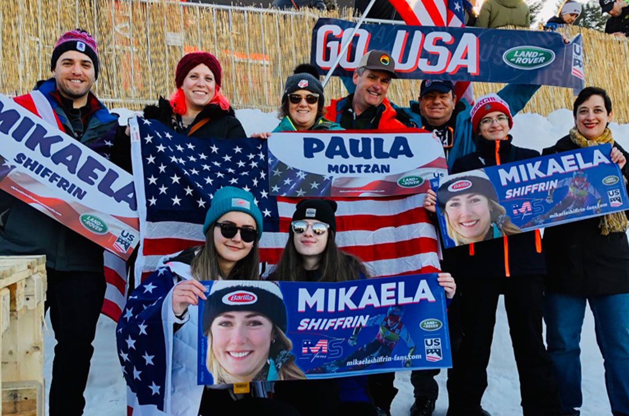 All together family and fans, cheering Paula Moltzan &  Mikaela Shiffrin at World Cup Zagreb 2020