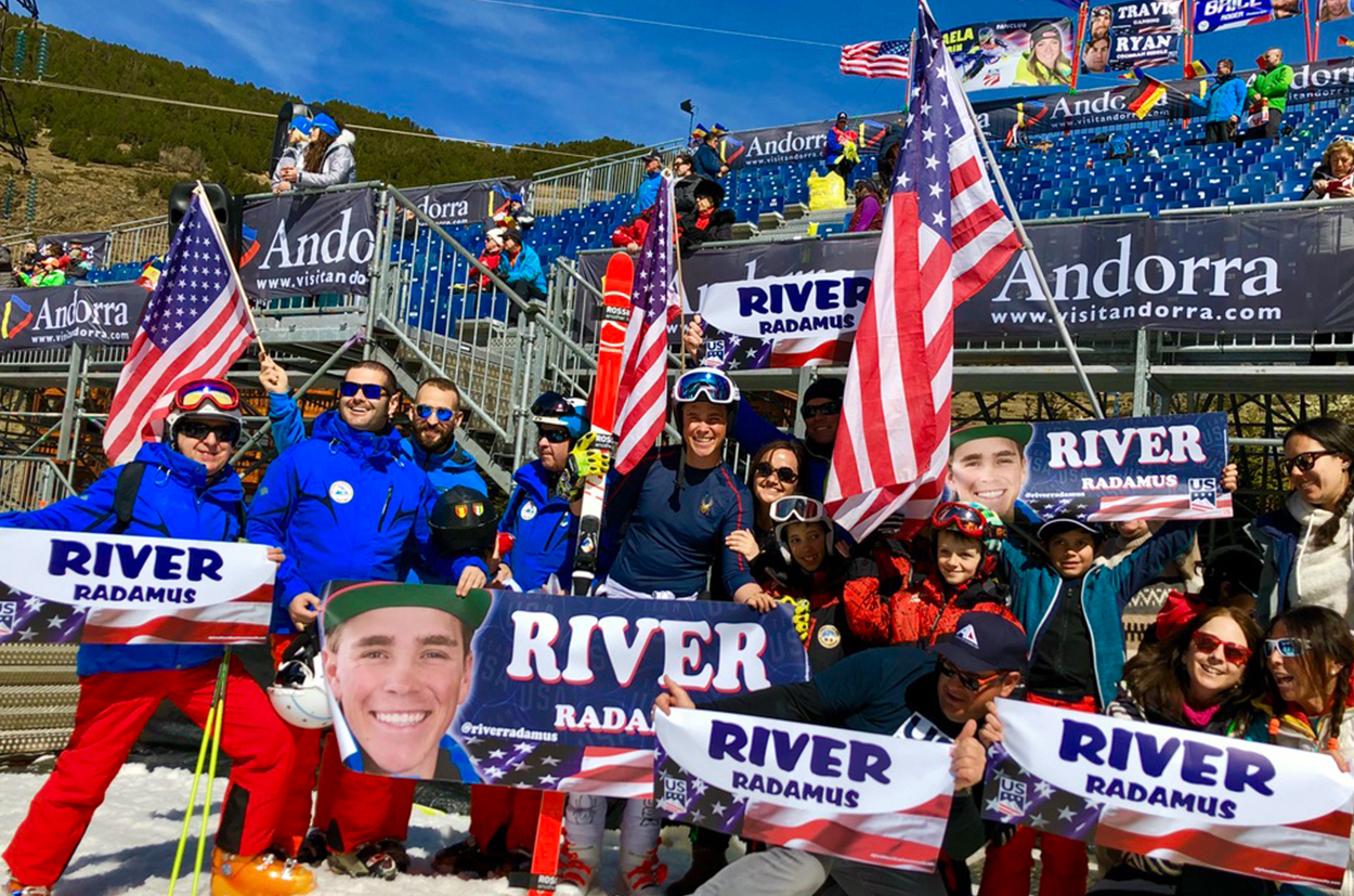 River Radamus with the Fan Community at Soldeu Finals Ski World Cup 2018-2019