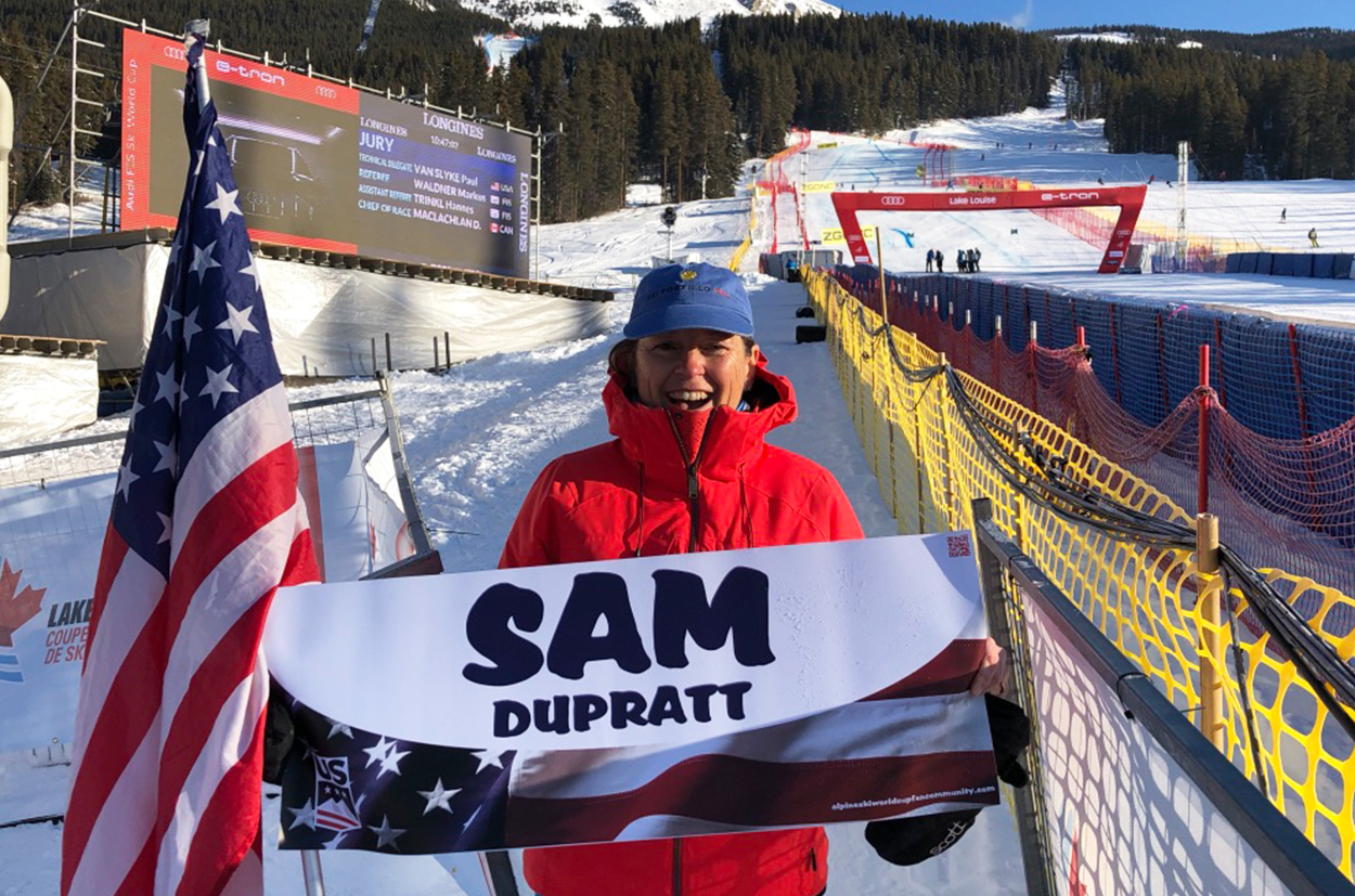 Sam's mother joined us at Lake Louise 2019 for cheering her son