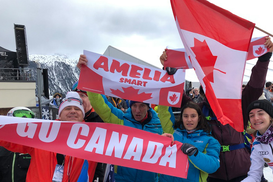 French supporters cheering Alpine Canada at Courchevel 2018
